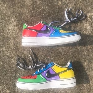 NEWLY HAND PAINTED  AF1 Low Custom Crazy Cartoons